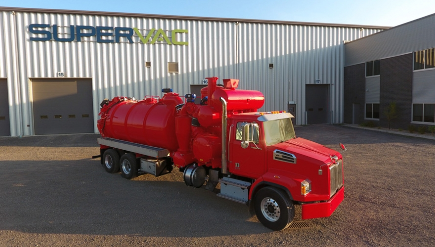 Red vacuum cleaner truck