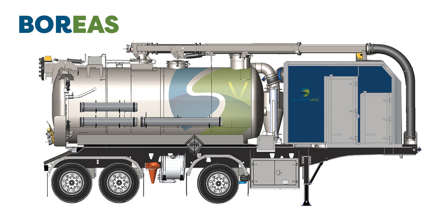 Hydrovac Trailer named Boreas - Get all technical specification for this custom truck